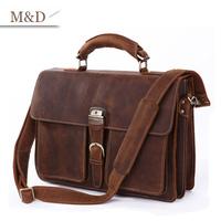 M&D New Arrivals Men's Business Briefcase Cowhide Leather Handbag Notebook Bags Factory Price