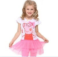 Lovely Peppa Pig Girls Short Sleeve Tunic Peppa Pig Clothing Lace Peppa Pig Dresses One-piece Cute With Embroidery ,D151