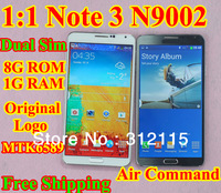 """Free Shipping! Note 3 Dual Sim phone Note3 N9002 phone MTK6589T Quad core 1G RAM 8G ROM 5.7"""" 1280*720 IPS Android 4.3 phone OTG"""