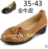 2014 new women's genuine leather shoes, leather shoes with a single slope, large size and comfortable mom shoes, free shipping