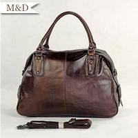 M&D New Arrivals Vintage Tote Genuine Leather Messenger Bag Cross-body Unisex Shoulder Bag 2 Color
