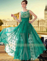 2014 Spring New Fashion Green Formal Dinner Banquet Special Occasion Silk Chiffon Prom Evening Dress Long Design Plus Size