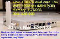 4G/32G SSD WIFI C1037U dual-core Celeron CPU HD mini computer mini pc industrial computer dual Gigabit LAN win7 host USB3.0