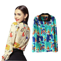 New Arrival Spring 2014 Women Silk Girls Print Chiffon Blouses Shirts Woman Female Fashion Long Sleeve Shirt Tops Clothing