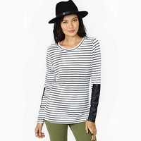 Free Shipping 2014 New Spring Fashion Black and white striped sleeves PU leather stitching round neck long-sleeved knit T-shirt