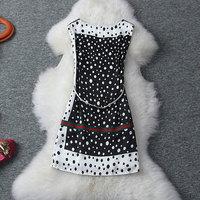 new fation 2014 black and white spring/summer/autum polka dot color belt Women slim  dress