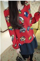2014 New Lady Casual New Round Collar  Owl Print  Tops Chiffon Long Sleeve Women Shirt Women Fake two piece  Top Hot Sale