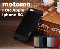 Hot Motomo Luxury Brushed Aluminum Metal + PC Cover Case For Apple iphone 5C Smart Mobile Cell Phone New