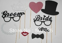 Set of 9 Lovely Mustache On A Stick Wedding Photo Booth Props Photobooth Funny Party Masks Bridesmaid Gift