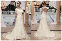 Short sleeve white/ivory lace wedding dress custom size
