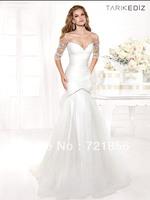 DTZ-12 2014 New Arrival Topsale Sexy Half Sleeve Beads Crystal Tarik Ediz Evening Dresses