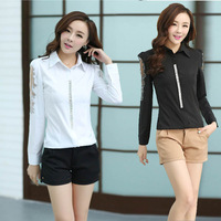 2014 New Hollow Long-Sleeved Women'S Blouse With Diamond Rhinestones OL Chiffon Shirt BS13