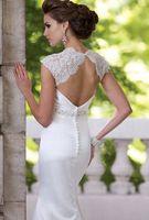 Sheath cap sleeve wedding dress lace custom size 4+6+8+10+12+14+16