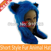 12Pieces/Lot Fashion Faux Fur Animal Hats Brand New Fur Animal Hoods Wolf Hats Cartoon Caps Scarf Gloves Drop Shipping