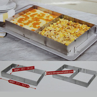 Stainless steel adjustable retractable rectangle mousse ring cake mould cake mould 6 - 12