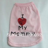 Pet Dog Cat Summer Clothes Vest T Shirt Love MOMMY Heart Cute Doggy Apparel Coat[210403]