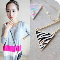 $10 free shippingZebra stripe colours triangle joker drip question mark zebra long necklaces & pendants