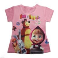 wholesales 2014 new style summer kids T-shirt  full printing bunny bear girls tee shirts pink girls t-shirts(2T-6T) 5pcs/lot