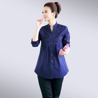 women clothing spring 2014 embroidered V-neck women's long-sleeve slim shirt plus size loose shirt women blouses cotton
