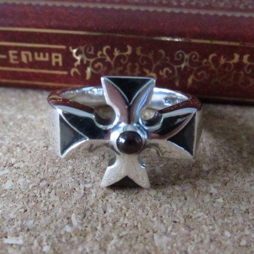 Street silver 925 pure silver retro finishing thai silver cross ring pinky ring garnet(China (Mainland))