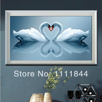 Рукоделие, Сделай сам DMC вышивка крестом, Комплект для вышивания, Белый лебедь от сердца к сердцу 3D счетный кросс-колющие, Стены дома Decro