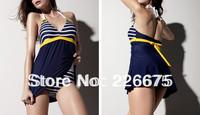 New Sexy Women One Piece Swimsuit Padded Swimwear Blue Navy Stripe Halter Empire Swim Dress