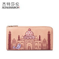 women wallets genuine leather brand long designer ice cream embroidery bag women day bag purse female wallet women