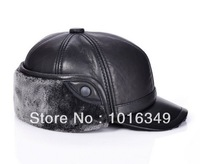 HOT!2014 New arrival fashion Men Lambskin Thicken Super Fluff Ear cap Winter Thicken Baseball sports cap men genuine leather hat