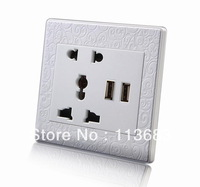2014 New Wall Plate Panel Wall Socket with 2-Ports USB/2pcs Free shipping