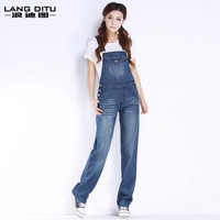 Free shipping 2014 jumpsuits rompers cute women denim overalls female jean jumpsuits loose spaghetti strap pants jeans jumpsuit