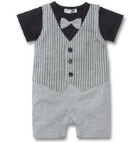 fashion short sleeve baby rompers stripe tuxedo boys' fashion new 2 colors