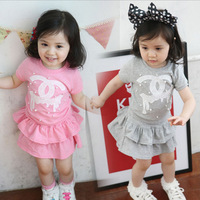 new 2014 Summer children clothing set(t-shirts+skirts) girls clothing sets Fashion 100%cotton set 5pieces/lot size90-130 2colors