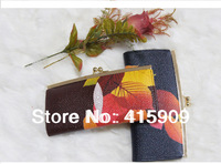 2014 new arrival comfortable feel maple leaf pattern fashion women's long genuine leather wallet women's long purse