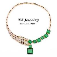 Pendant Necklace Jewelry Hot Sale 2014 Luxury New Fashion Choker Necklace Women Leopard Head Acrylic Square Pendant Statement