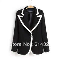 Fashion Temperament Bodycon Women's Blazers Patchwork Color Buttons Black Colors Women Clothing