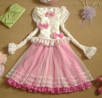 Spring 2014 Cute Chiffon Lolita Dresses Ruffles Flare Sleeve Lace Polka Dot Pink Bow Dress Princess Summer Sweet Dress