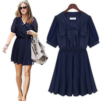 Spring 2014 Women's Fashion O-neck Summer Short Sleeve Ruffle Chiffon One-piece Dress