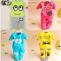 Free Shipping 2014 New Fashion Spring Autumn Cotton Baby Clothing Set  Long Sleeve O-Neck Baby Boys Girls Sets