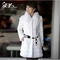 Silver fur outerwear rabbit fur women's 2014 fox fur medium-long