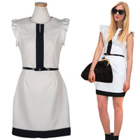 2014 Women's Brief Color Block Small Butterfly Sleeve Slim One-piece Dress Fashion O-neck Mid-waist Step Dress with Belt