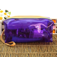 Candy color transparent jelly cosmetic bag storage bag female 2013