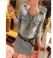 *women's 2014 spring clothes slim denim one-piece dress