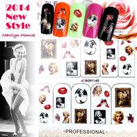 2014-2 New Arrival Marilyn Monroe Series Nail Watermark Nail Stick Wholesale (12 pcs/lot) BOP0140-143