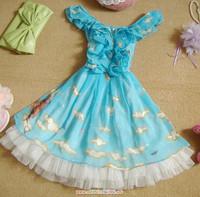 Spring New 2014 Lovley Chiffon Lolita Dresses Sleeveless Print Lace Dress Princess Sweet Ruffles Lolita Dress
