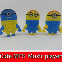 320pcs Cute Despicable Me Minion style MP3 player+USB+Earphone Mini Rechargeable MP3 W/TF card SlotCrystal Box  Free shipping