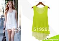 Fashion new summer large size temperament sleeveless chiffon waistcoat loose solid color chiffon base shirt dress free shipping
