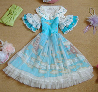 Spring New 2014 Lovley Print Chiffon Lolita Dresses Ruffles Flare Sleeve Peter Pan Dress Princess Sweet Cute Lolita Dress