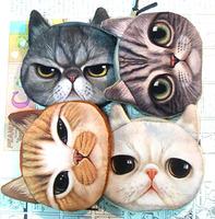 Cat animal zipper coin purse card holder key storage