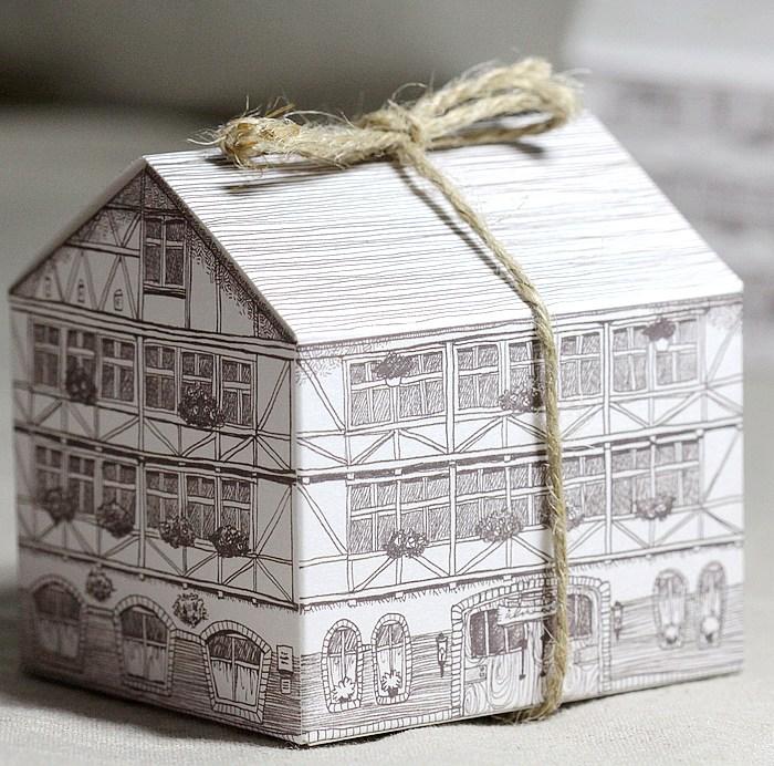 atacado papel casa caixa do alimento, caixa de presente. diy embalagem. 8*7*8cm. 200piece\lot frete grátis.(China (Mainland))