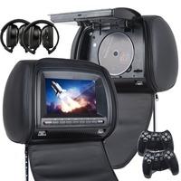 "Eonon 2x7"" Car Headrest DVD Video Displayer with Digital Screen DVD USB SD FM/IR Zip Cover +2 IR Headphone + 2 Game Pads"